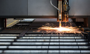 An image of plasma cutting in action