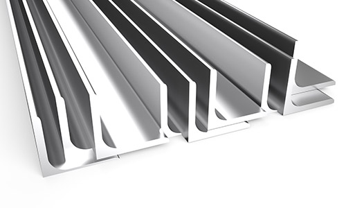 An image of angled stainless steel sections at Steelmor