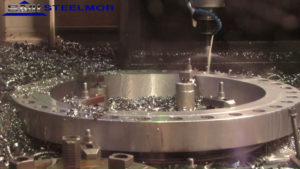 This is an image of the CNC machine drilling at Steelmor SMI